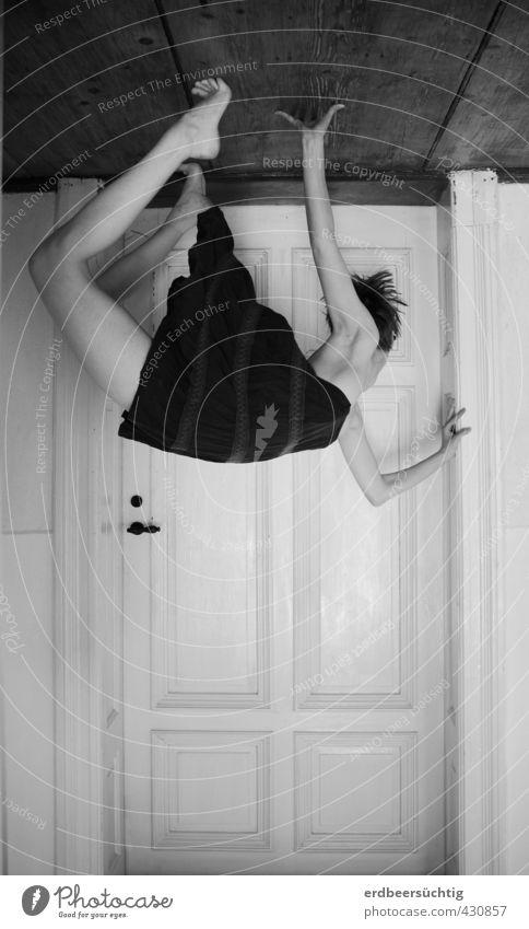When the world is upside down Meditation Yoga Feminine Body Legs Door Skirt Relaxation Hang Esthetic Uniqueness Thin Athletic Horizon Innovative Room Ceiling