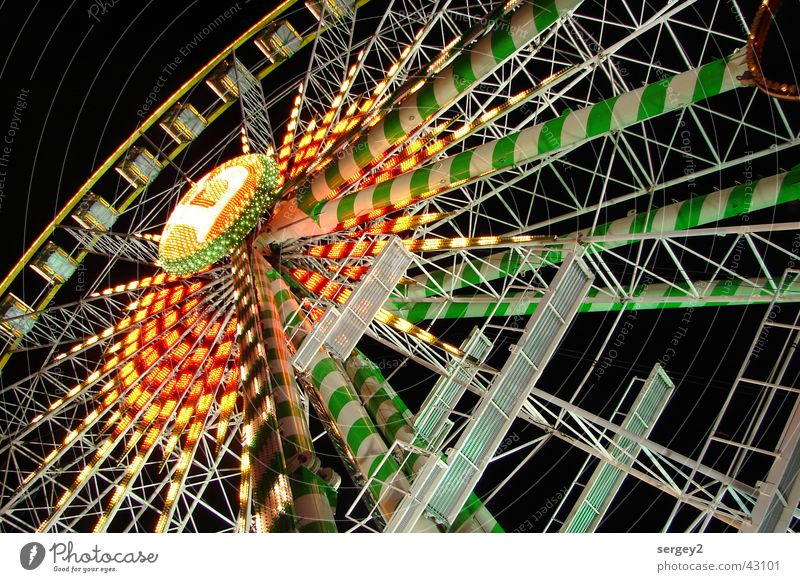 Ferris wheel by Night Leisure and hobbies Amusement Park Red Green Light Perspective Colour Multicoloured