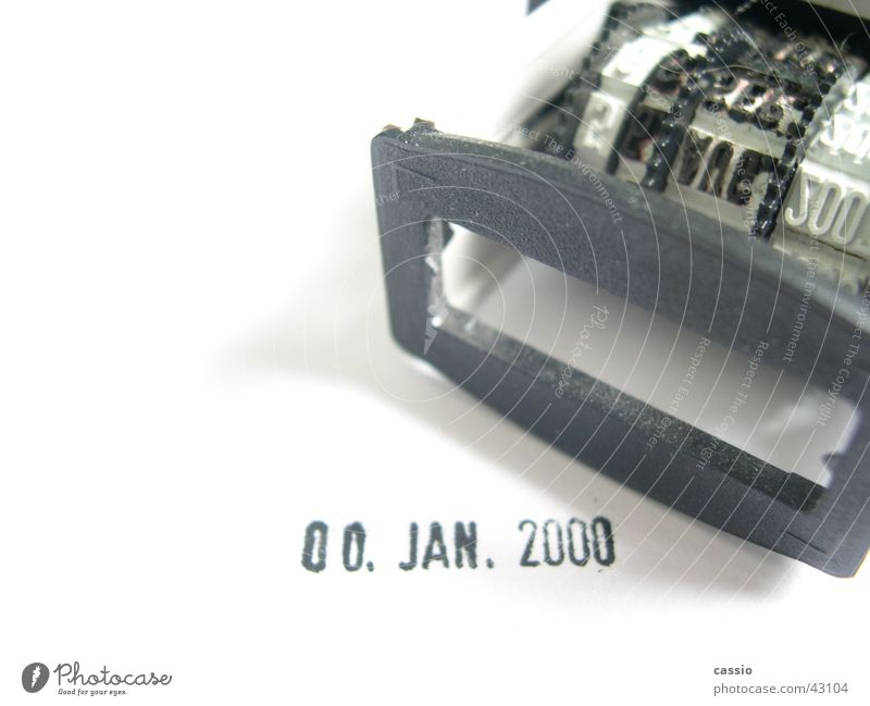 Loss of reality. Date 2,000 January Empty Date stamp Black White Pistil millenium Pressure