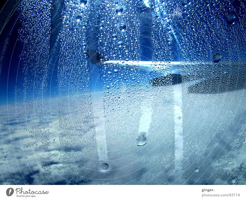 Tears in blue Vacation & Travel Aviation Air Water Sky Airplane Blue White Wing Airplane window Vantage point Condensation Drop Drops of water Colour photo