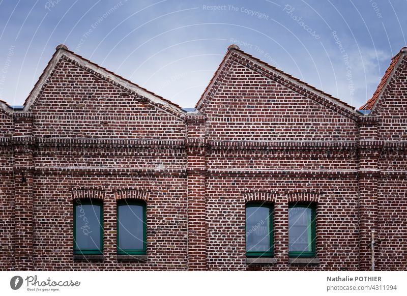 Old factory in red bicks building industry industrial manufactory old brick sky blue window Factory Industry Brick Window Industrial plant Wall (barrier) Facade