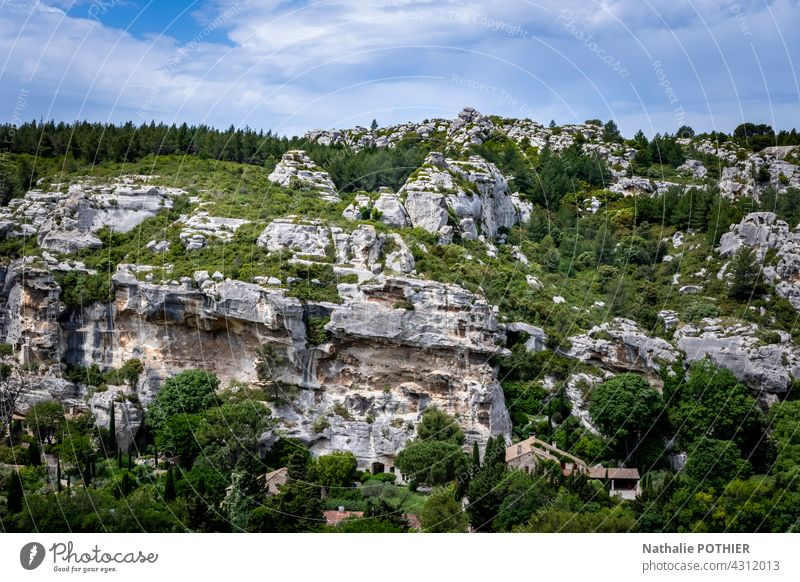 The surroundings of the village Les Baux de Provence, rocks and vegetation boulder hill nature copy space landscape Nature travel stone Landscape Hill Rock