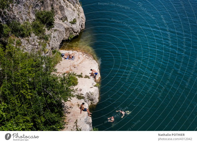 Swimming in the Gardon, view of the Pont du Gard, in Provence Swimming & Bathing Water Summer Vacation & Travel Summer vacation Colour photo Tourism