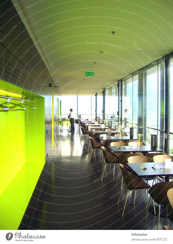 bergisel ski jump Jump Innsbruck Café Tourism Table Counter Window Glittering Green Yellow Ski jump ski-jump Tower Zaha Hadid Chair Smoothness Architecture