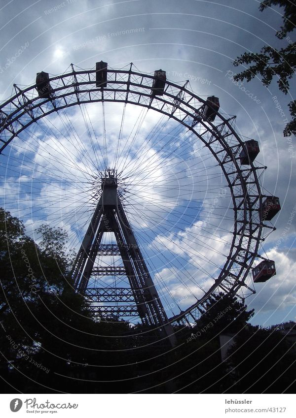 prater vienna Vienna Round Clouds Leisure and hobbies Red Carriage Fairs & Carnivals Iconic carousel Sky Review Trip