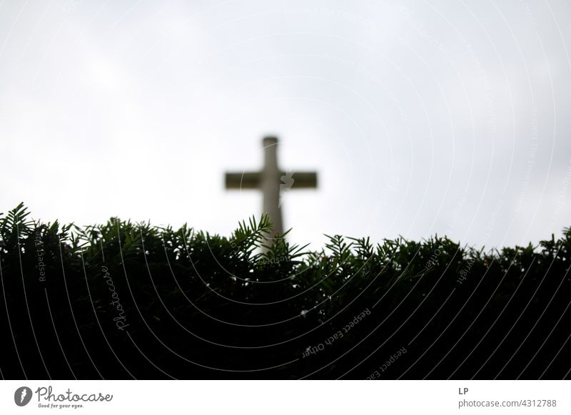Cross appearing after a fence farsightedness meditative Meditation Way of the Cross Good Friday Hill Sign believe pray Spiritual Light Grief Prayer Hope