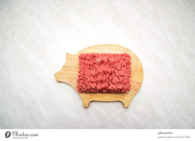 minced meat Food Meat Nutrition Lunch Farm animal Wood Surrealism Chopping board Colour photo Interior shot Experimental Deserted Day Flash photo