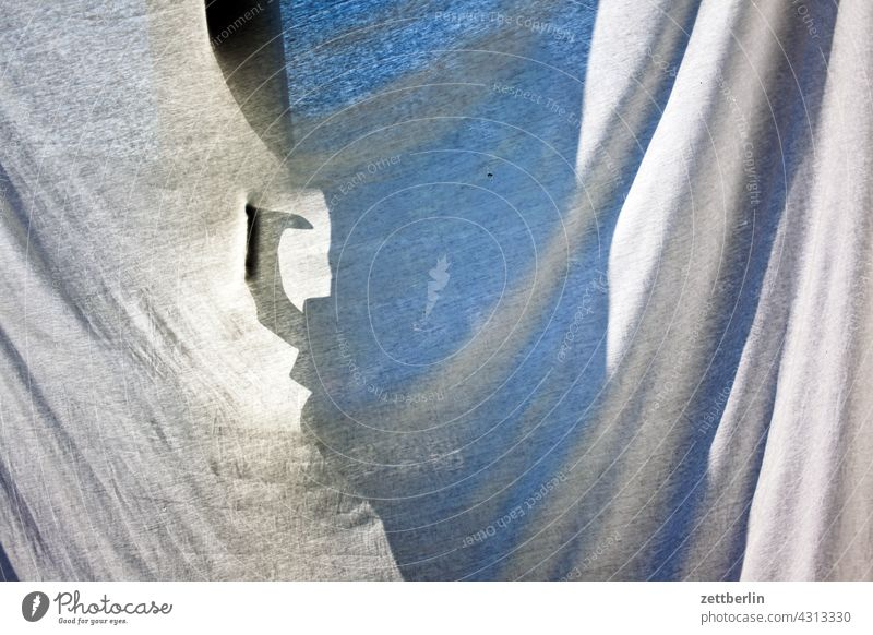 Sheet as sun protection in front of the balcony door Sheets Rag Cloth Drape Balcony dwell Flat (apartment) French windows Light Sun Summer Hot ardor Warmth