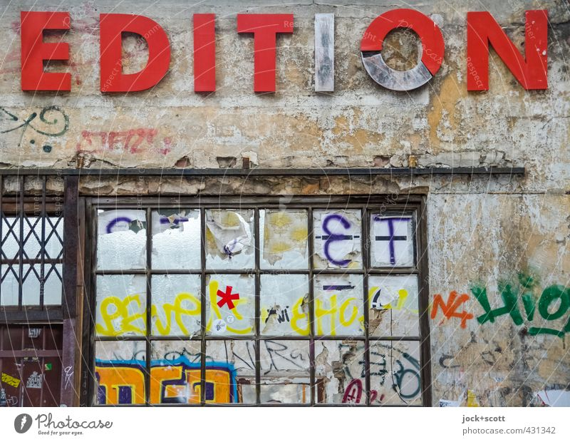 (Un)limited Subculture Typography Friedrichshain Ruin Wall (building) Facade Window Graffiti Exceptional Broken Trashy Red Moody Solidarity Endurance Uniqueness