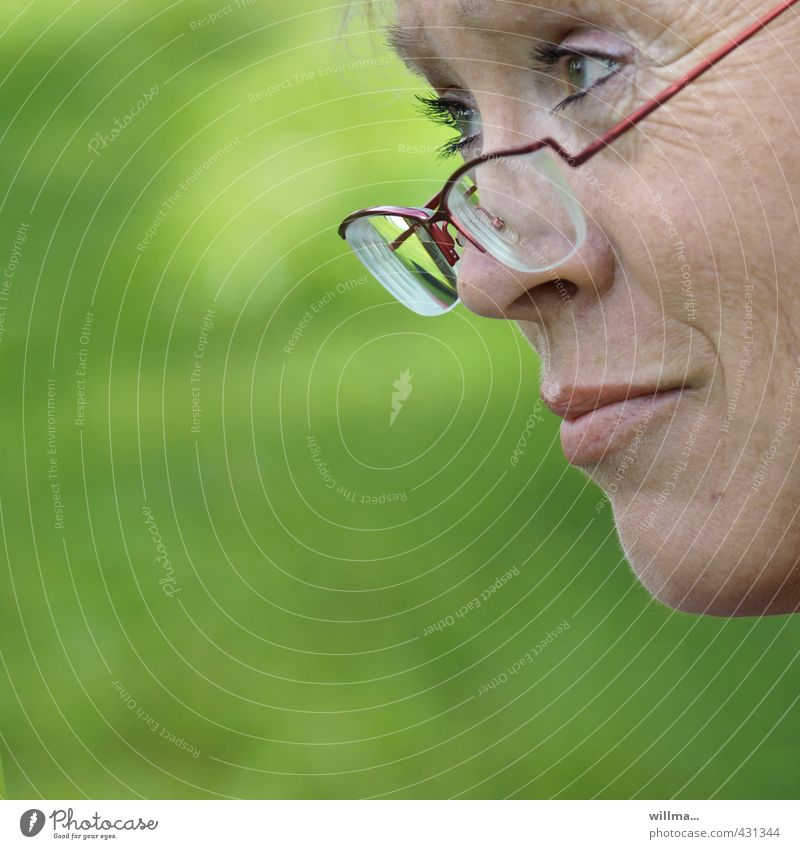 Woman Green Face Adults Think 45 - 60 years Observe Eyeglasses Friendliness Curiosity Serene Watchfulness Testing & Control Concern Surprise Caution