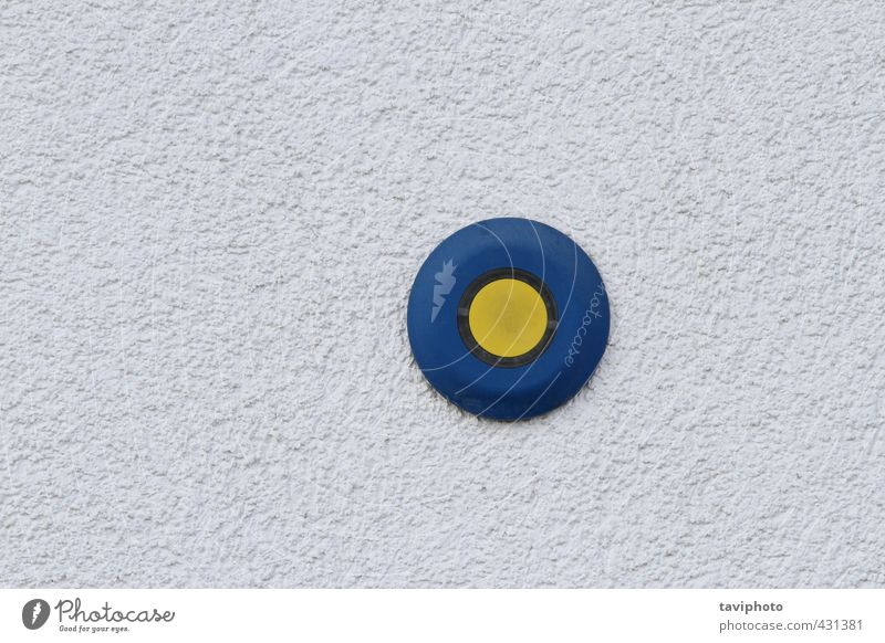 button on grunge wall Blue Yellow Dark Gray Small Authentic Concrete Technology Sign Kitsch Plastic Thin Tool Key