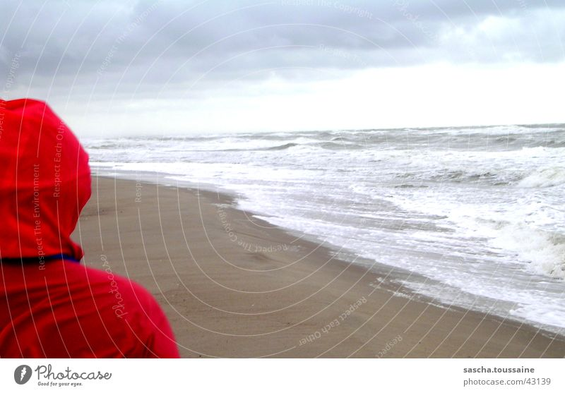 Little Red Riding Hood's Farsightedness Beach Waves Clouds Rain jacket Raincoat Vantage point Infinity Far-off places Denmark Water Sky Looking ...