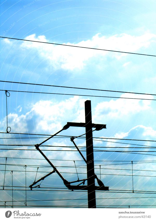 StyleOberleitung Overhead line Danger of Life Electricity Transmission lines Transport Energy industry db Germany Railroad Electricity pylon Conduct ...