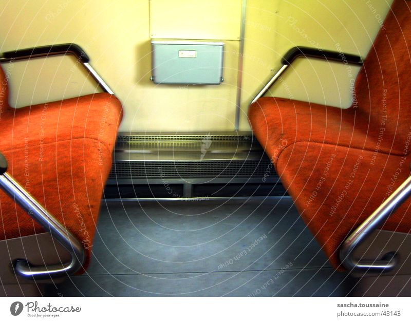 DB's regional railway from the inside Regional railroad Bench Yellow Gray Dark Blur Washed out Style Transport regionally Germany Railroad db Seating Orange