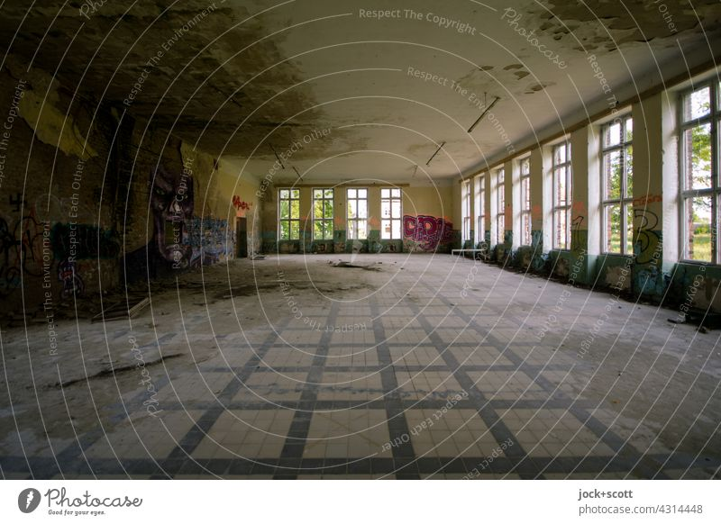Lost Land Love l great hall with whimsical appearance Hall Room Derelict Window Symmetry Subdued colour Apocalyptic sentiment Architecture Change lost places