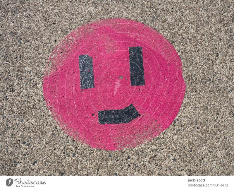 Smiley smile despite wear Smiling Inspiration Simple Circle Street art Creativity Ravages of time Concrete floor Weathered Abrasion Change Friendliness