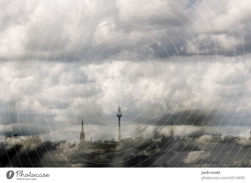 368.03 m landmark + lots of air and clouds Berlin TV Tower Landmark Cloud formation Perspective Panorama (View) Sky over Berlin Background picture Silhouette