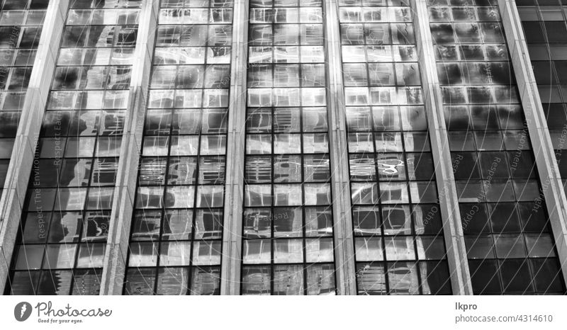 the reflex of the skyscraper in the window palace blue glass abstract office light cloud terrace steel iron cross distortion black metal wave shadow grey curved