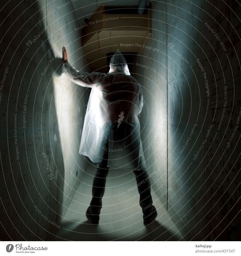 ghost in the shell Human being Masculine Man Adults 1 30 - 45 years Stand Touch Raincoat Intellect Banner Awareness Lighting Eerie Corridor Alley Colour photo