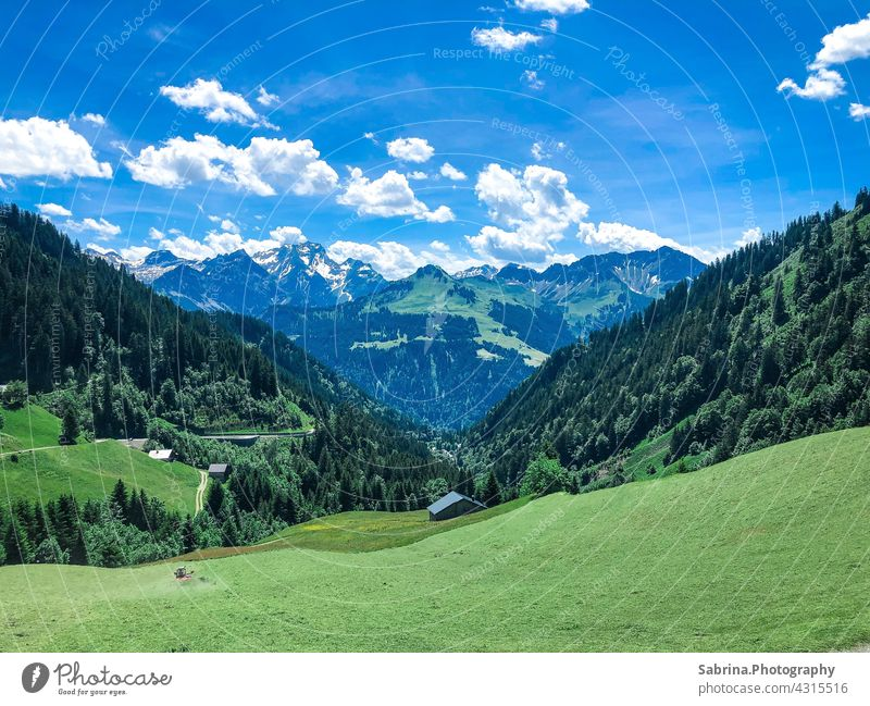 View of mountains in good weather in Faschina, the highest settlement in the Great Walser Valley, Vorarlberg, Austria large walsertal Nature Colour photo