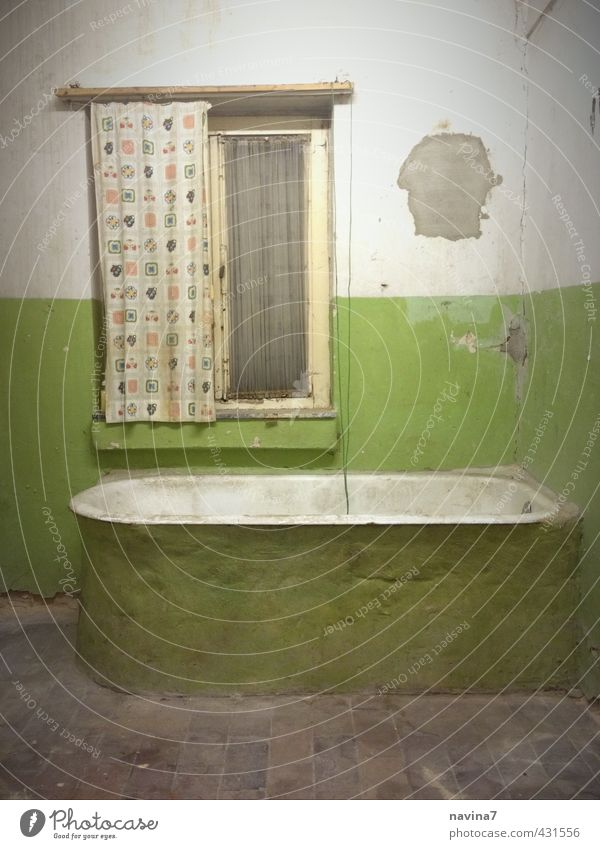 bath Stage Deserted Bathroom Old Build Living or residing Poverty Retro Green Cleanliness Redecorate Old building Drape Plaster Bathtub Multicoloured