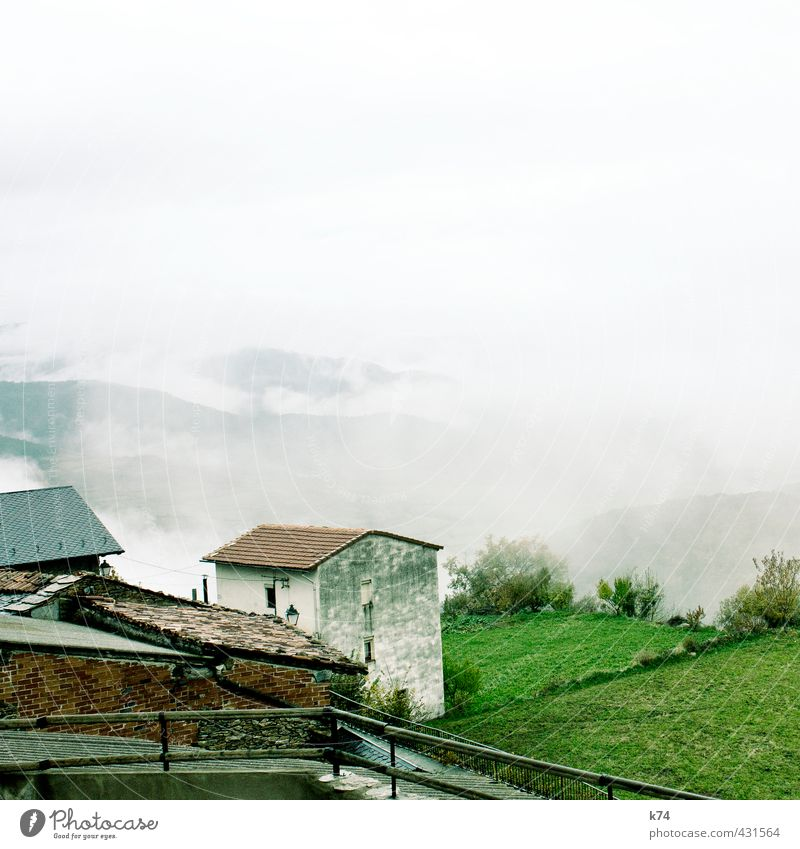 house in the hills Environment Nature Landscape Plant Sand Sky Clouds Fog Grass Bushes Meadow Hill Village Deserted House (Residential Structure) Detached house