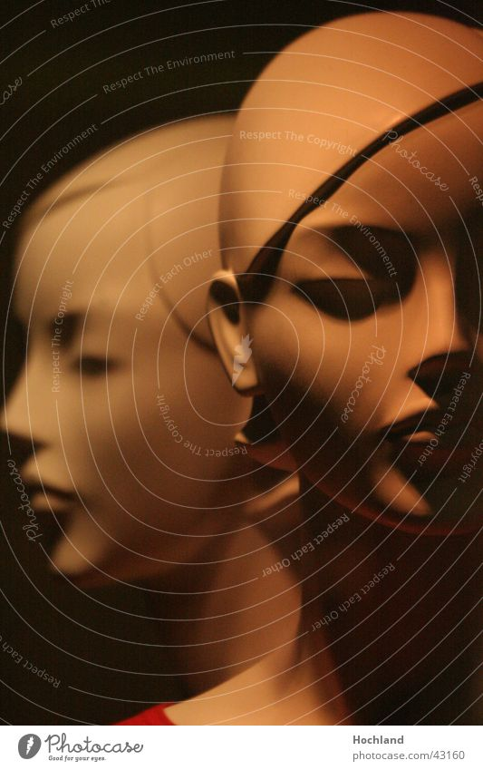 The Two Woman Part Light Dolls Window Dolls Face Nose Eyes Shadow Profile Head relatedness