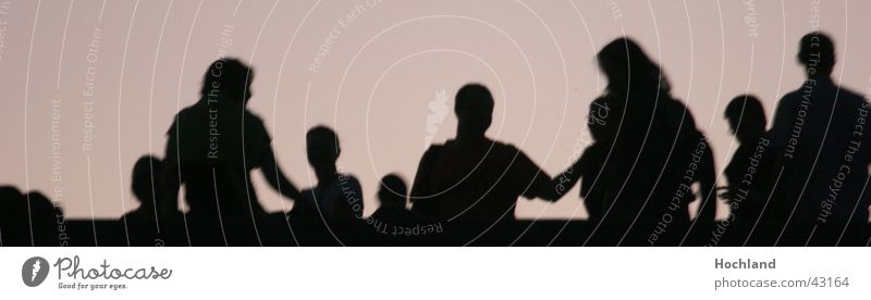 On the bridge Group People gathering celebration party event on the bridge Backlight Shadow Silhouette Movement