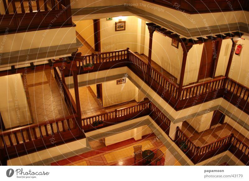 nightview Balcony Light Night shot Long exposure Moody Yellow Architecture Interior courtyard Corridor