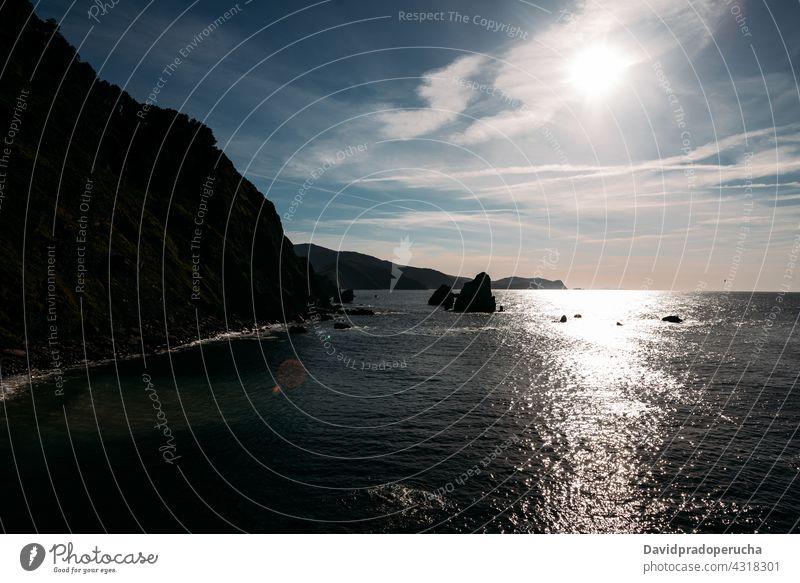 Rocky cliff and sea on sunny day island rock scenery seascape rocky landscape amazing san juan de gaztelugatxe vizcaya pais vasco spain nature idyllic