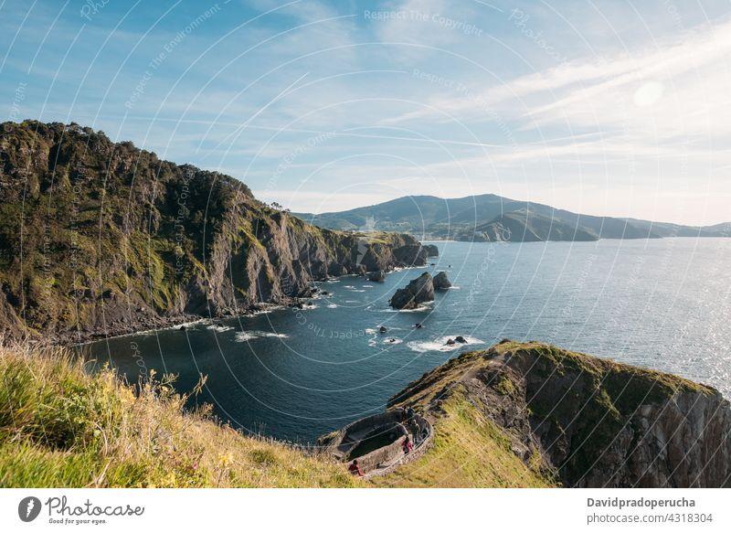 Amazing view of rocky cliff and sea island sunset seascape scenery amazing landscape san juan de gaztelugatxe vizcaya pais vasco spain sundown nature evening