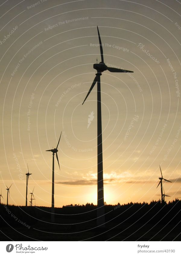wind power Wind energy plant Sunset Science & Research Energy industry Renewable energy