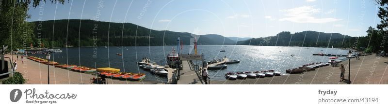 Titisee Panorama (View) Wide angle Lake Titi Watercraft Excursion Beach Titiseer tour Sand Gravel Sunshine Large Panorama (Format)