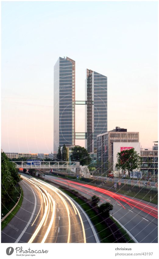 Architecture Glass High-rise Bridge Munich Highway Curve Elevator High point Constant light