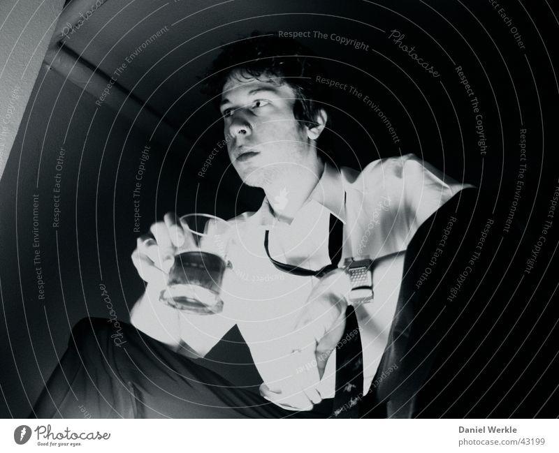 nuit de l'an Dark Suit Low-key Portrait photograph Night Man Black & white photo