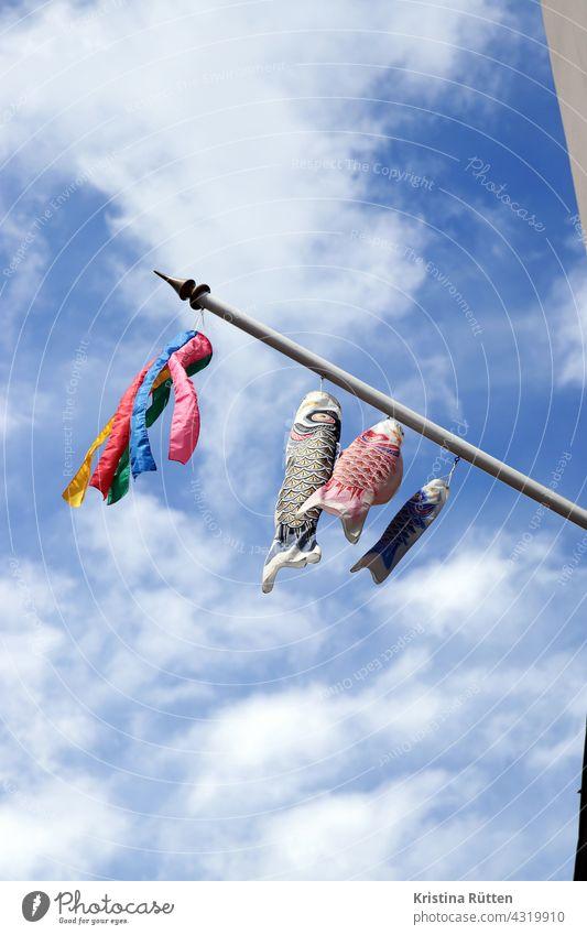 carp flags fluttering on the flagpole windkoi windkois koinobori koi-nobori carp kite Wind chime decoration Decoration variegated cheerful Judder Blow Sky