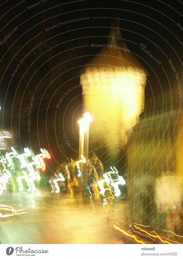 Tübingen gate at night Night Town Long exposure Blur Architecture Reutlingen Gate Tower Light Car