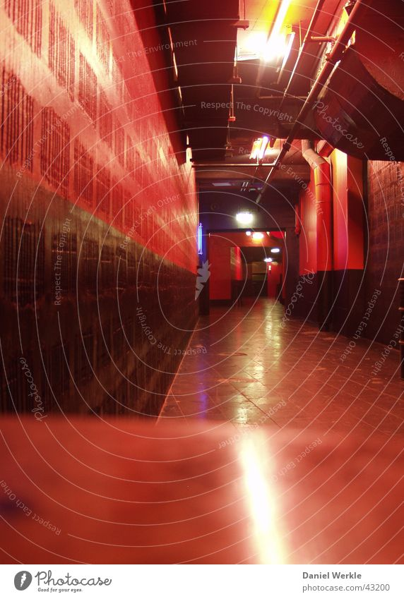 Red Architecture Disco Long Hallway Gastronomy