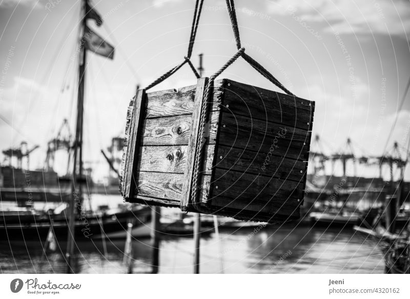 Treasure chest recovered Treasure Chest Crate Wooden box Wooden chest Hiding place Luxury Mysterious mystery secret Day Exterior shot Old Harbour Port City