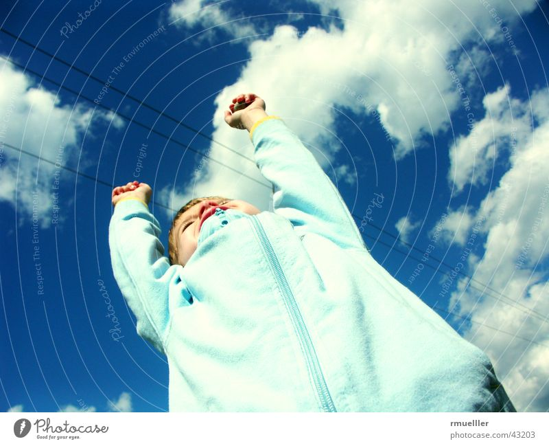 Human being Sky Child Blue Clouds Life Emotions Happy Well-being Enthusiasm Gymnastics Spontaneous