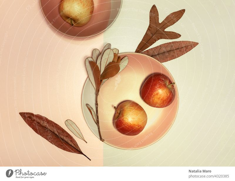 Autumn flat lay with plates, dry leaves and apples background frame food leaf mock up morning natural november october orange overhead rustic season september