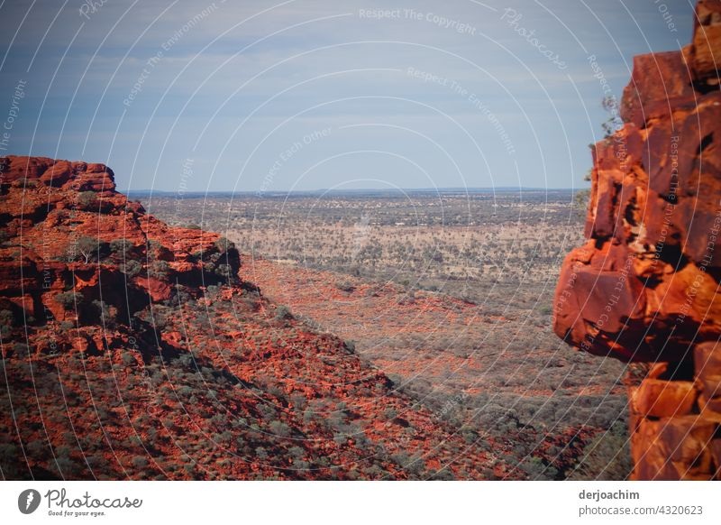 View from Kings Canyon, with its red rocks into the outback. Outback Nature Australia Landscape Deserted Panorama (View) Sky Colour photo Weather Summer