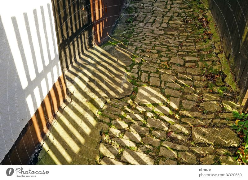 On the old cobblestone path falls the shadow of the wooden picket fence Cobblestone Path Paving stone off Shadow Wooden fence secret Old Mysterious Fence