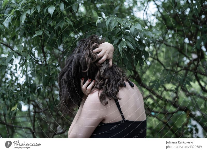 desperate woman in the forest Emotions emotion Woman Girl pretty Sadness Hair and hairstyles Beauty & Beauty depression sad Brunette brown hair on one's own