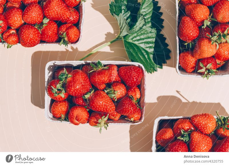 Macro of Fresh strawberries strawberry summer ripe delicious macro nutrition tasty food flatlay diet red sweet farm picking nutritious garden top view flat lay