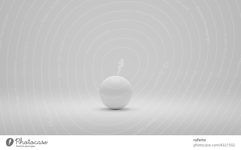 White alone sphere on white background. 3D Illustration circle ball isolated design realistic pearl modern decoration object symbol 3d bubble globe shadow orb