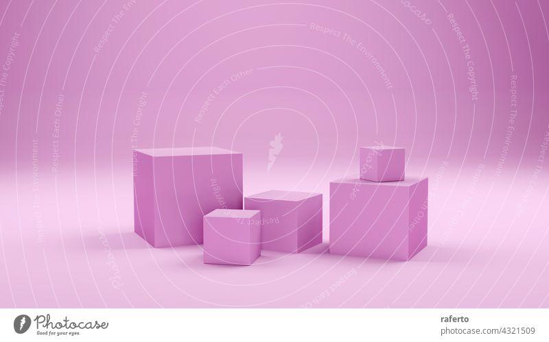 Geometric pink shape abstract background. 3d rendering. cube product blank empty illustration white geometric modern display platform scene minimal design