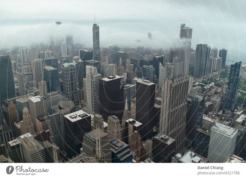 Downtown City Sky View Wide angle City hall cityscape skyscraper mood Moody Clouds foggy Fog Aerial photograph aerial aerial photography aerial view Drone