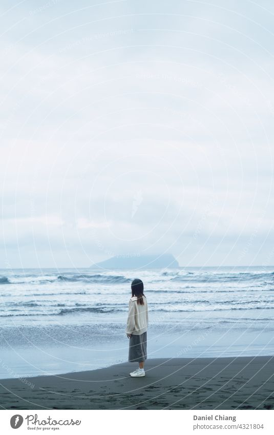 Girl Looking At The Island On The Beach Ocean Waves waiting 1 lonely alone standing mood Moody moody atmosphere young teen female woman lifestyle person girl