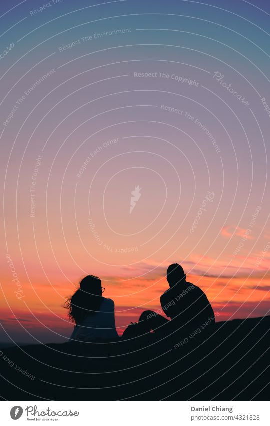 Couple With Beautiful Pink Sky Looking Relaxation Woman Vacation & Travel sky Nature romantic Colour photo Morning mood sunrise - dawn Sunrise Shadow play Dawn